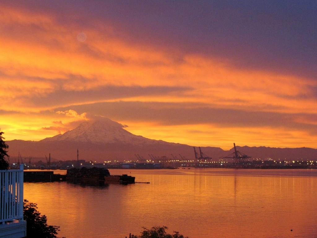 Mt Rainier Sunrise at the Port of Tacoma